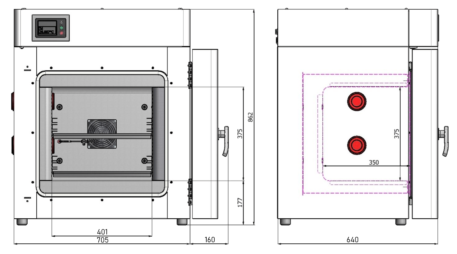 Calibration chamber, volume 53 litres