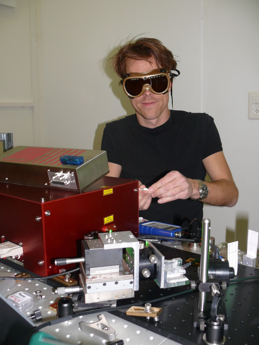 Dr. Gabriel Spuehler at his work place with MSR145 Data Logger